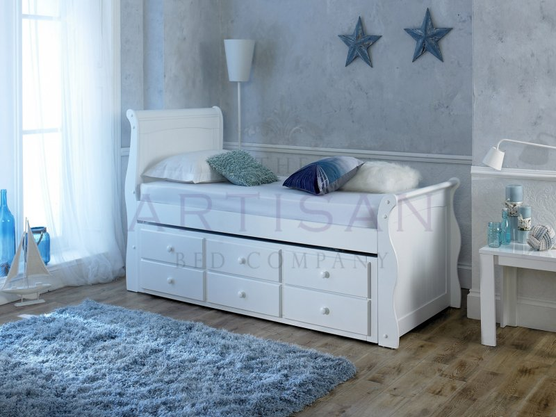 Wooden bed frames with drawers - Captain Guest Bed 3 Drawer Storage White