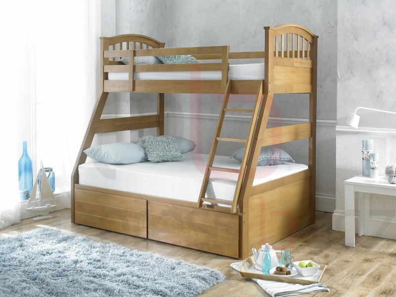 Oak Three Sleeper Bunk Bed Inc Drawers