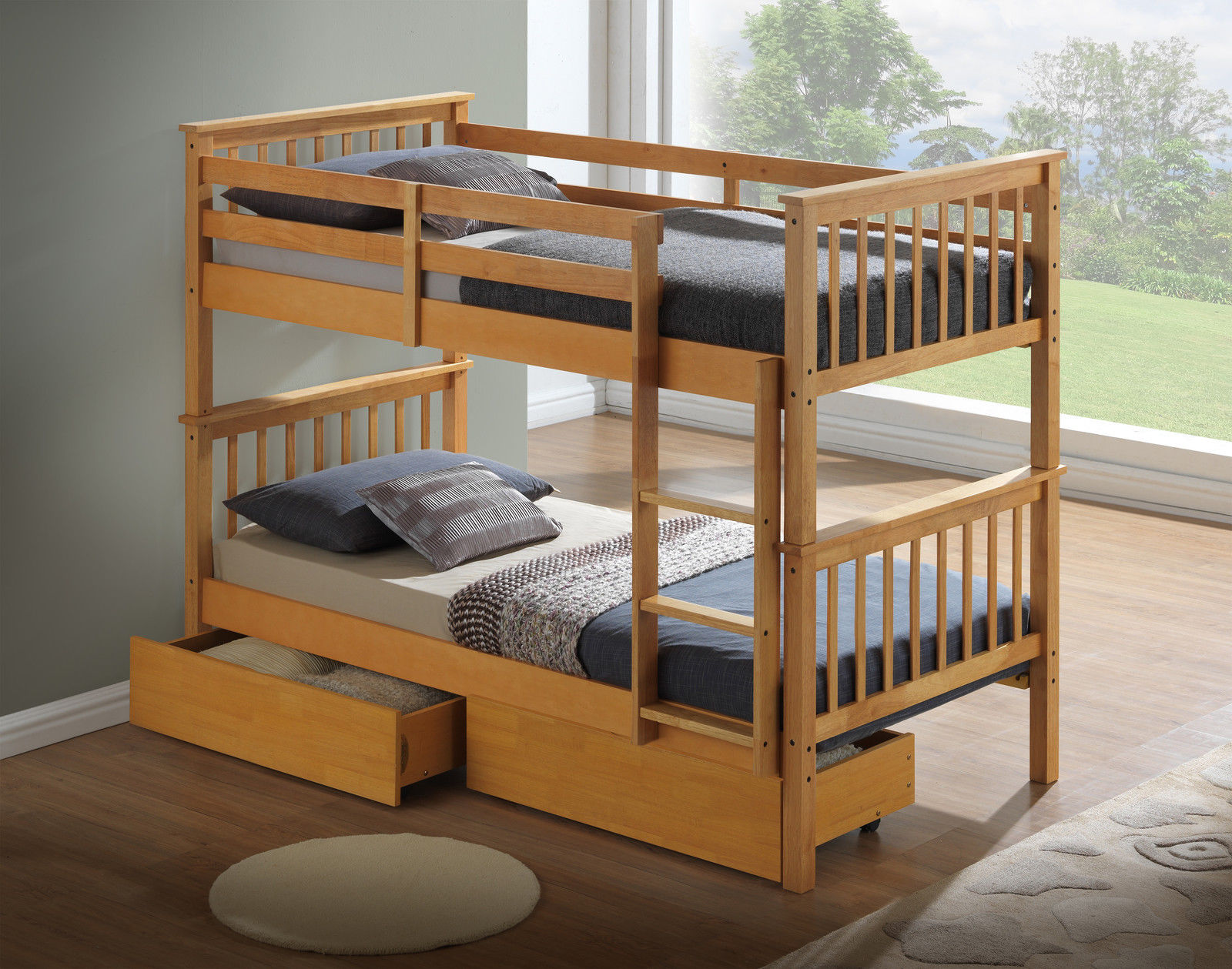 Beech bunk bed or beech three sleeper drawers only for Modern kids bunk beds