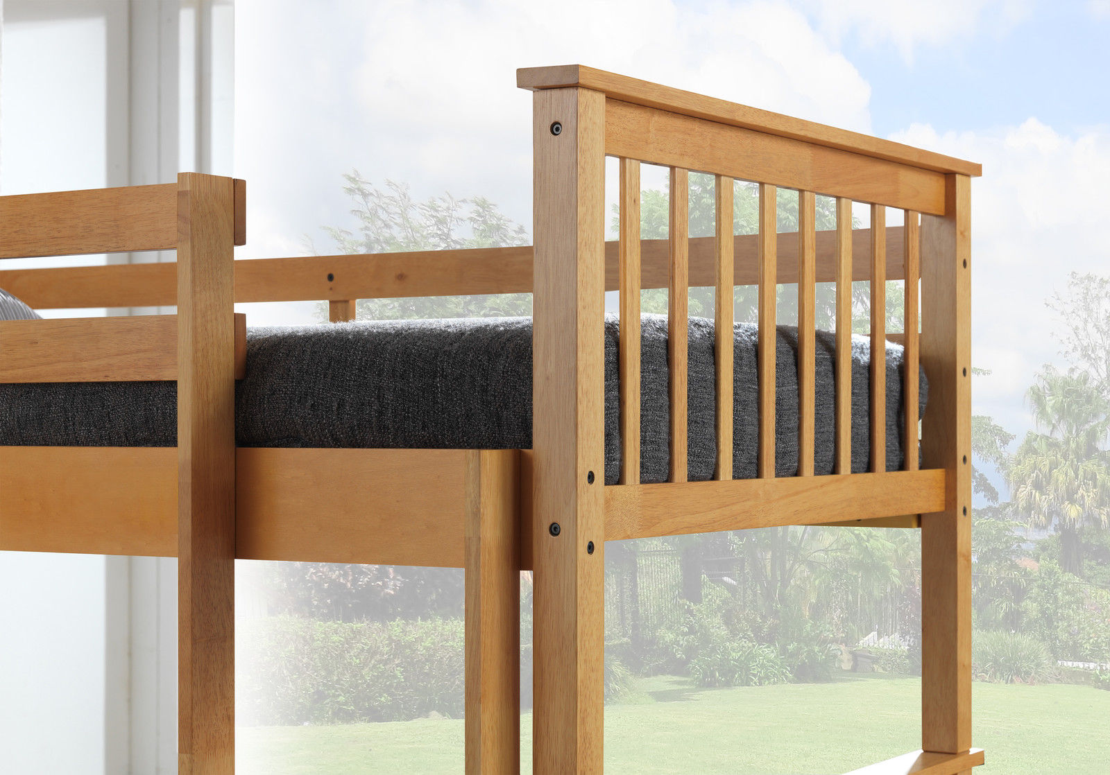 Beech triple wooden bunk bed childrens kids for Modern kids bunk beds