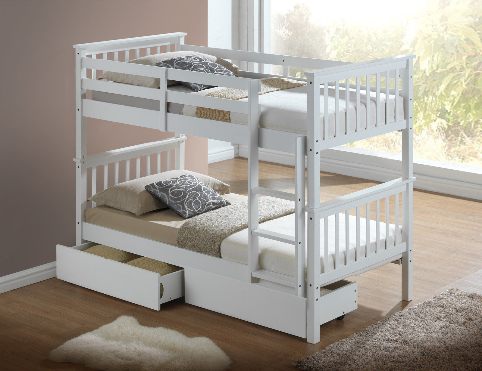 Modern white childrens bunk bed with drawers for Modern kids bunk beds