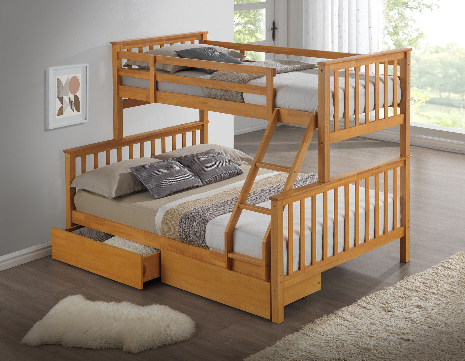 Beech triple wooden bunk bed childrens kids for Wooden bunkbeds