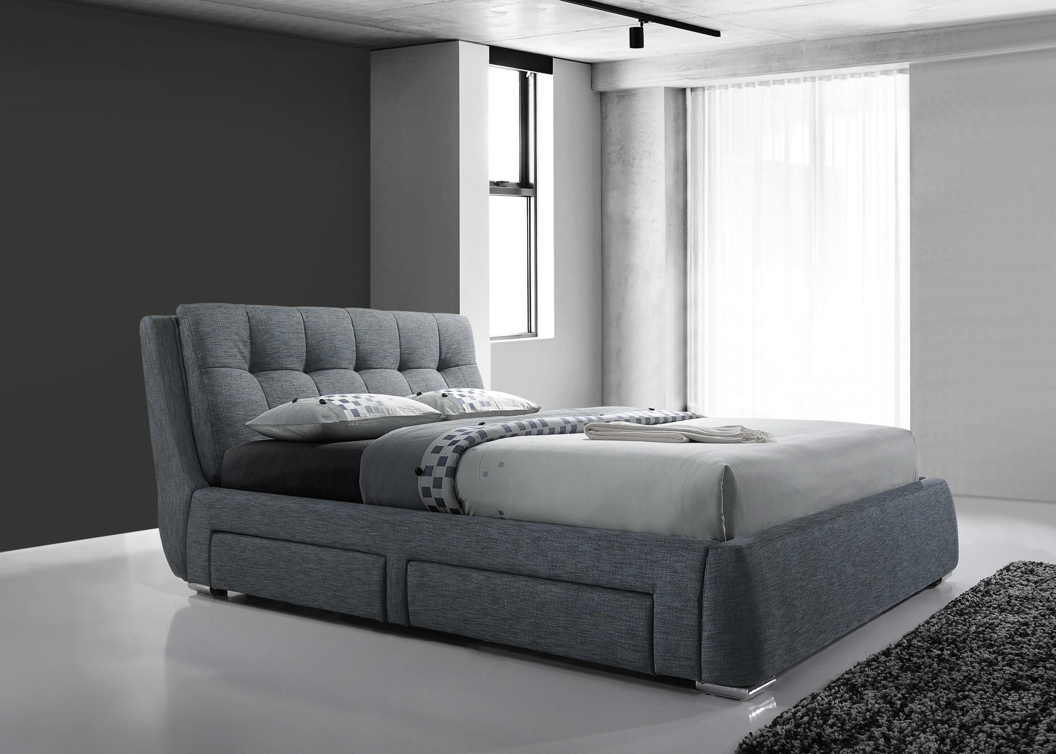 Designer Fabric 4 Drawer Storage Bed Light Grey 4ft6