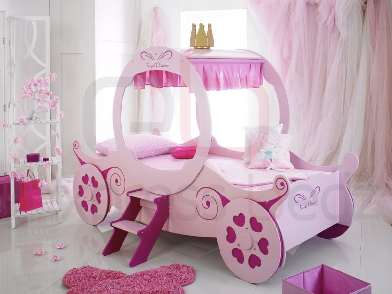 Toddler Bed For Girl Princess: Princess Carriage Girls Novelty Bed