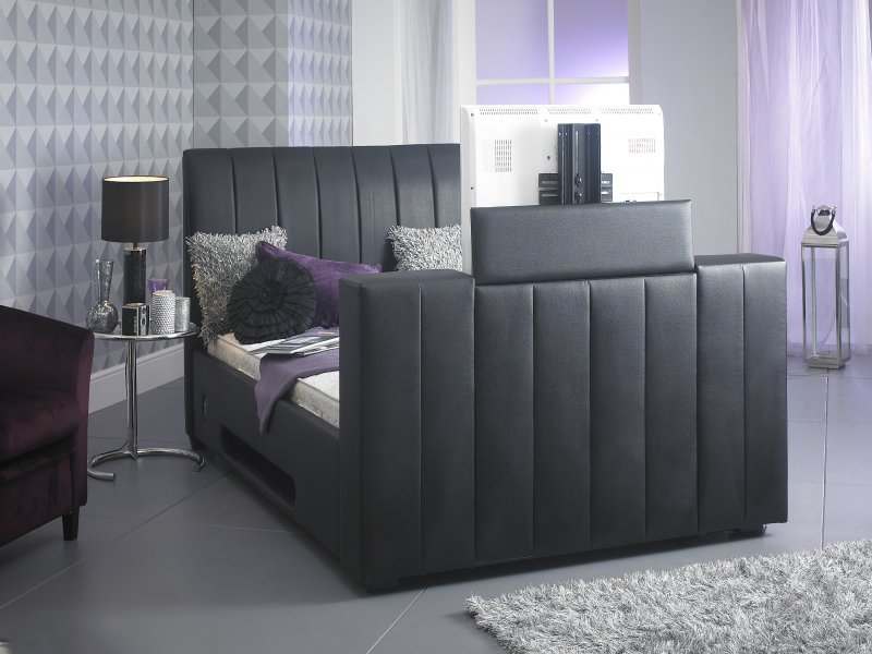 Tv In Bed : Black alpha manual tv bed free delivery cheapest double tv bed