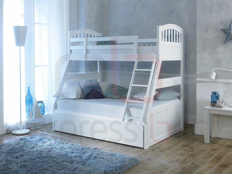 white three sleeper bunk bed inc drawers. Black Bedroom Furniture Sets. Home Design Ideas