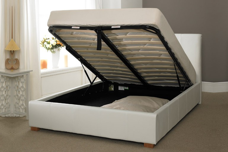 Wondrous White Faux Leather Ottoman Storage Bed 3Ft 4Ft 4Ft6 5Ft 6Ft Bralicious Painted Fabric Chair Ideas Braliciousco