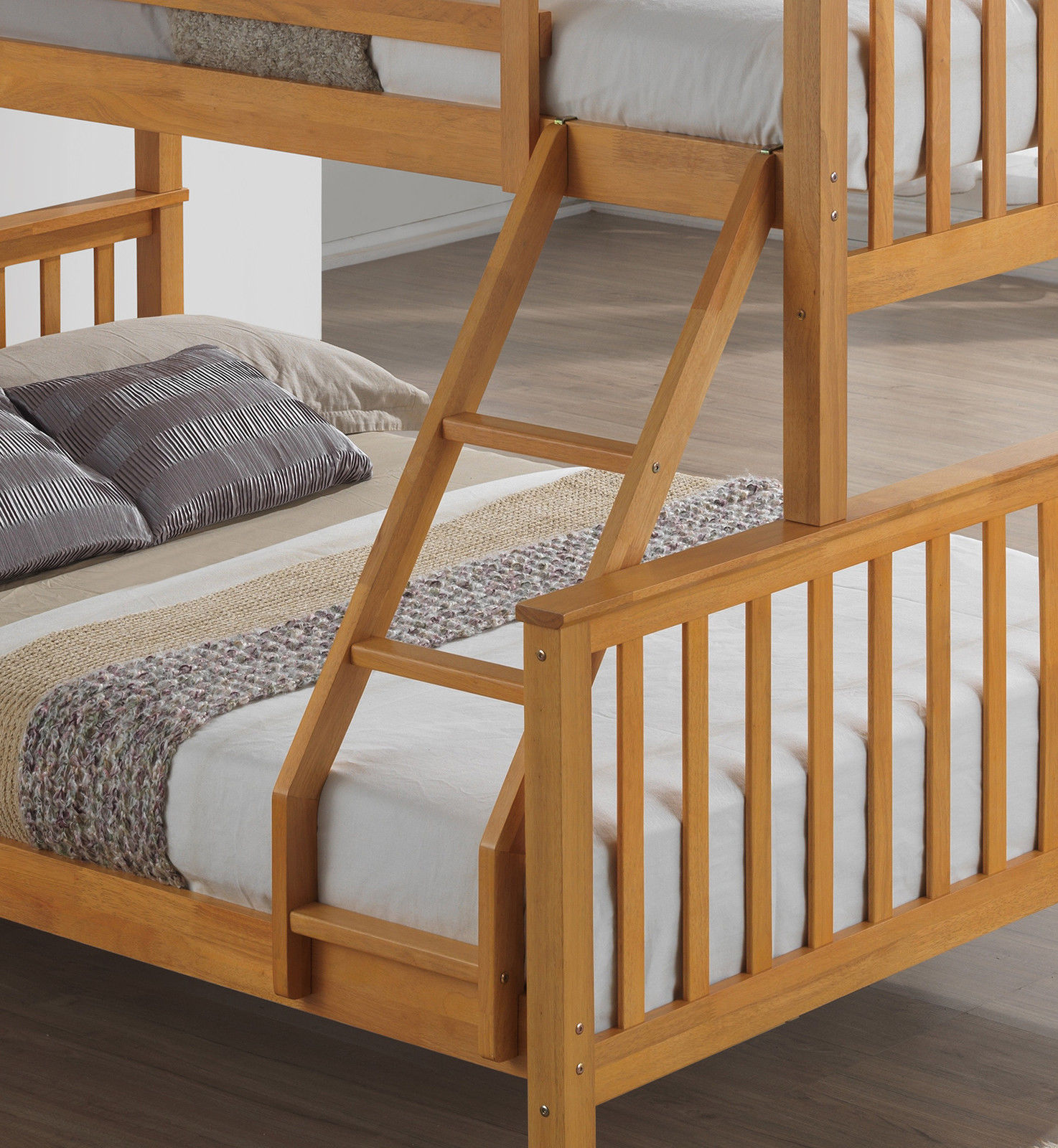 Beech Triple Wooden Bunk Bed Childrens Kids