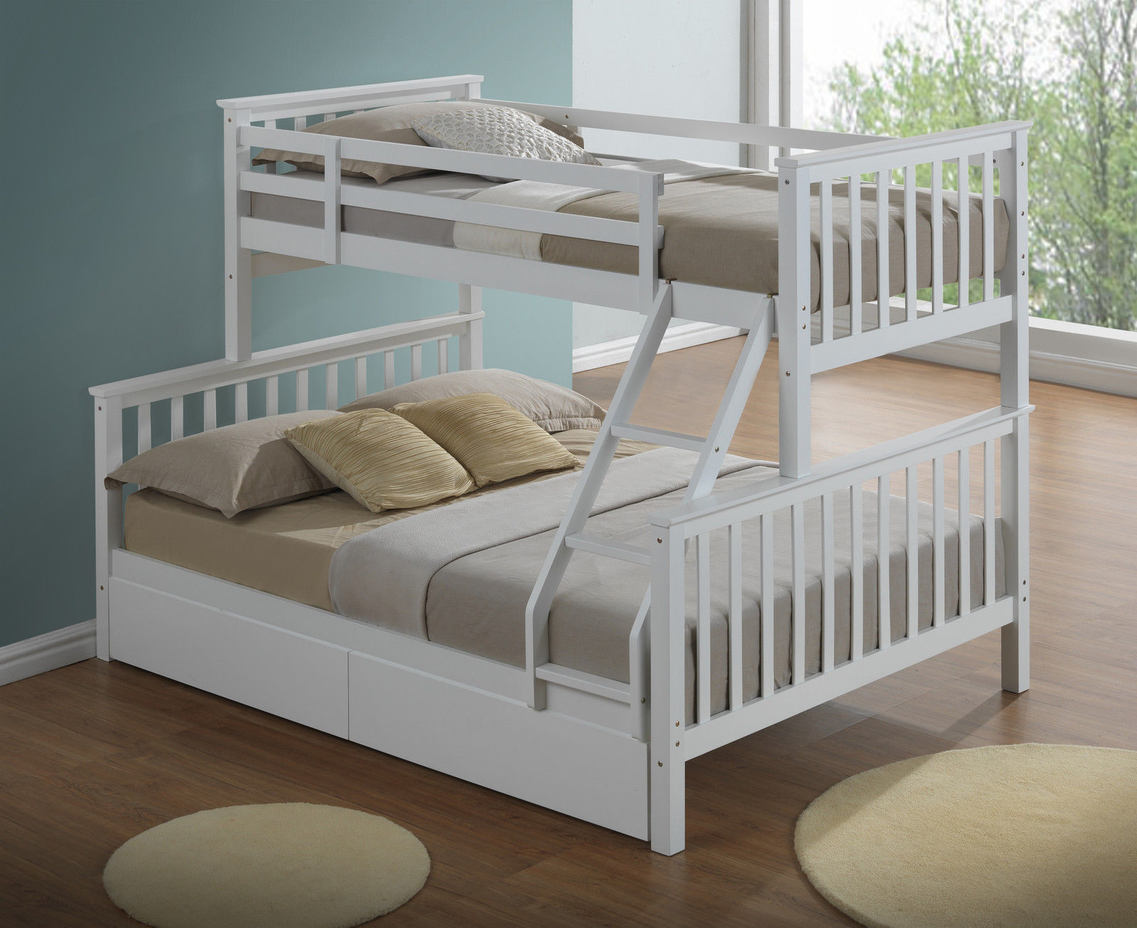 Modern 3 Sleeper White Childrens Bunk Bed Inc Drawers