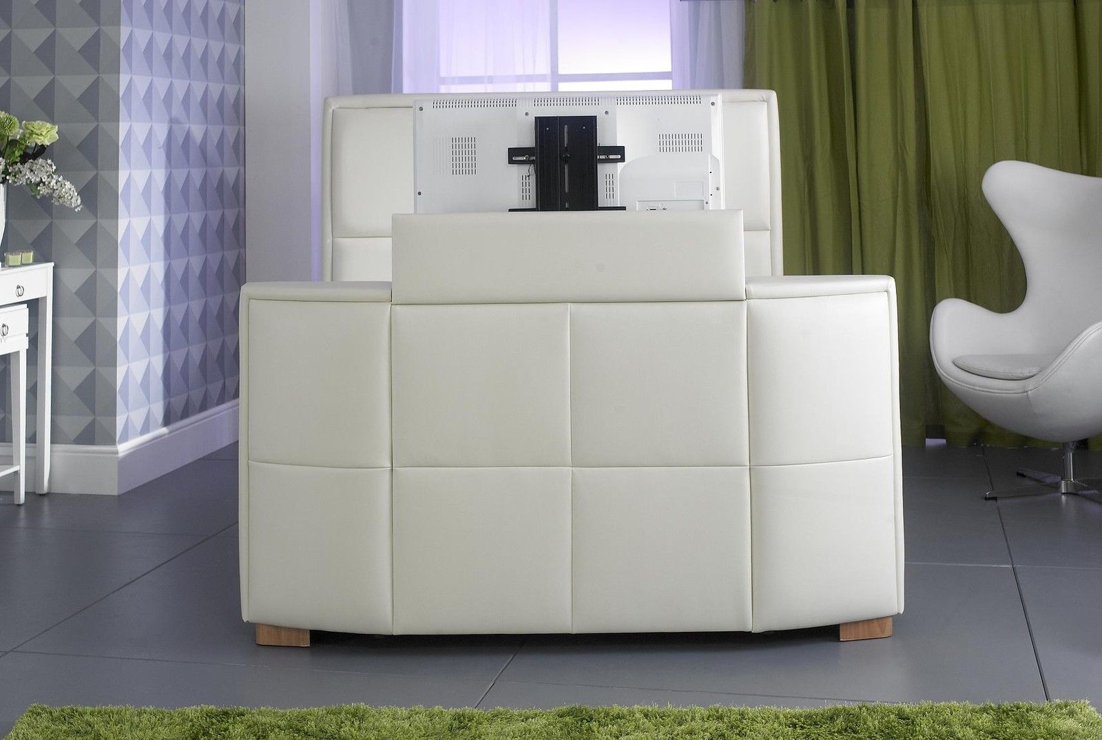 Zynah Tv Bed White 4ft6 5ft 6ft